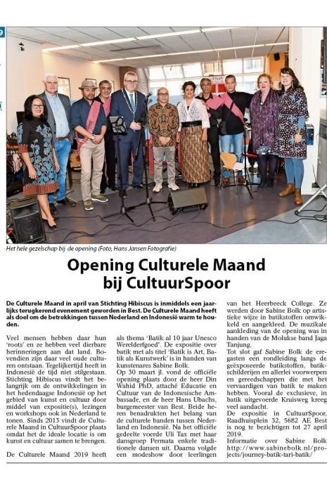19.04.23 Groeiend Best artikel + foto opening Cultuurspoor